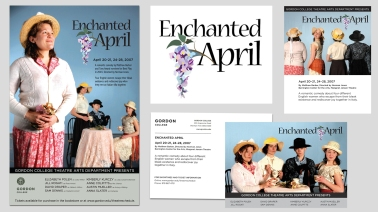 Enchanter April theater production identity and marketing materials
